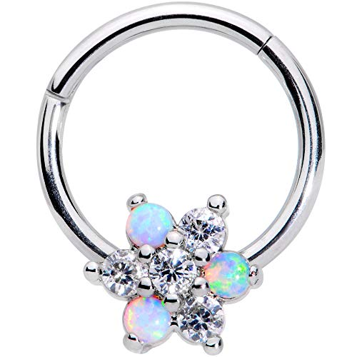 Body Candy Womens 16G Steel Segment Ring Seamless Cartilage Septum Ring White Synthetic Opal Nose Hoops 3/8