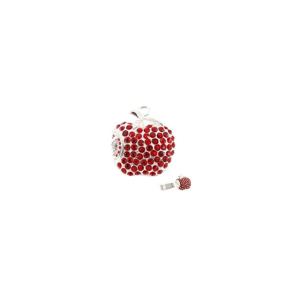 8GB Apple Shape USB Flash Drive with Shiny Rhinestone (Red)