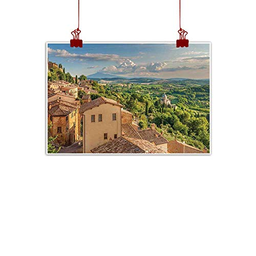 warmfamily Wall Painting Prints Tuscan,Sunset Rural Landscape Cypresses Forest Hills Greenery Blue Sky Clouds,Ivory Green and Blue 36
