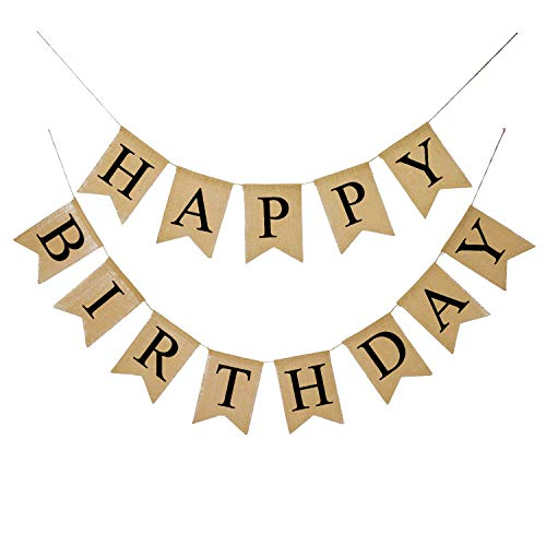 FECEDY Alphabet Happy Birthday Burlap Banner for Birthday Party Decorations (Black Alphabet)]()