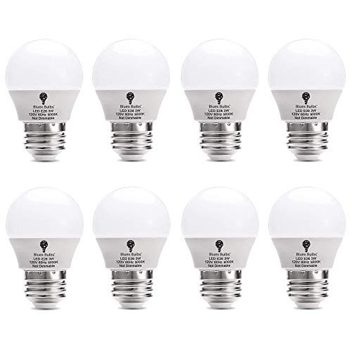 8 Pack BlueX 3W G14 LED Light Bulb 5000K Cool White - 25W Equivalent - E26 Base 120V - Small Night Light Bulbs for Bedroom, Ceiling Fan, Table Lamp, Kitchen, Pendant Fixtures, Dinning Room ()
