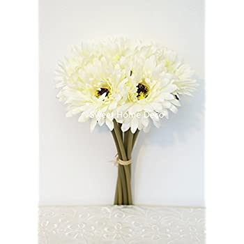 Amazon gerbera daisy artificial flowers for farmhouse home sweet home deco 13 silk artificial gerbera daisy flower bunch w 7stems mightylinksfo