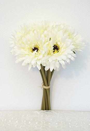 Sweet Home Deco 13'' Silk Artificial Gerbera Daisy Flower Bunch (W/ 7stems, 7 Flower Heads) Home/Wedding (White Gerbera Daisies)