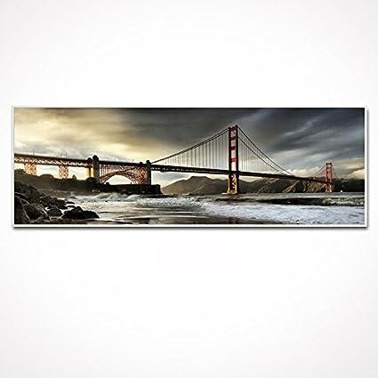 Amazon.com: Sea Charm -White Frame Golden Gate Bridge Canvas Print ...