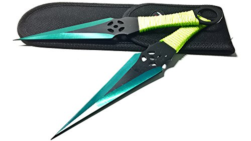 2 Piece Throwing Knife Set - Avias Knife Supply 9 Inch 2 Piece Two-Tone Color Blade Throwing Knife Set With Carrying Case (4944-2 Green)