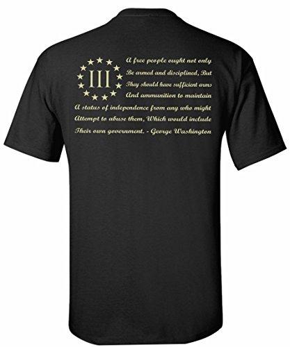 Patriot Apparel George Washington Flag T-Shirt (2X-Large, Black) (Flag Star Shirt)
