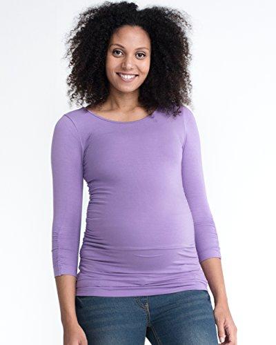 De la Mujer de manga larga para túnicas de embarazo maternidad superior, Stretch Fruncidos lila