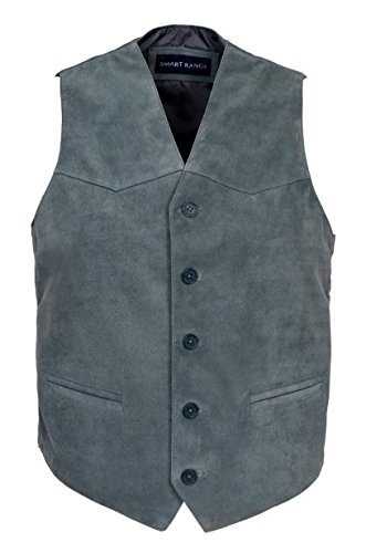Men's New Party Fashion Stylish Real Genuine Classic Designer Real Soft Suede Leather Waistcoats Vests (L, Grey (Classic Suede Vest)