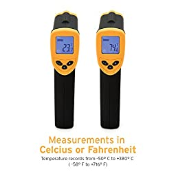 Etekcity Lasergrip 774 Non-contact Digital Laser Infrared Thermometer Temperature Gun -58℉~716℉ (-50℃~380℃), Yellow and Black