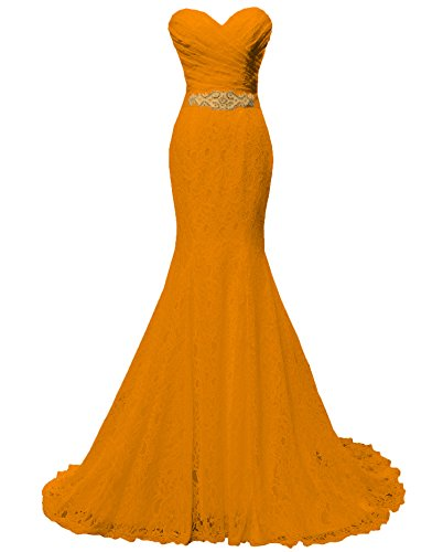 07d3dc1a9f411 Solovedress Women's Lace Wedding Dress Mermaid Evening Dress Bridal Gown  with Sash (US 4,Orange) - Buy Online in Oman. | Apparel Products in Oman -  See ...
