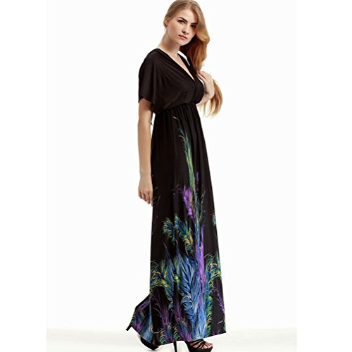 neck Aifang Women's Size Boho Bohemian V Plus Beach Maxi Dress nRIRqrZxz