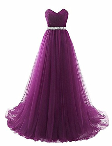 rmellos T¨¹ll Abendkleider Lila King's mit Abendkleid G¨¹rtel Love Party FXBEqw