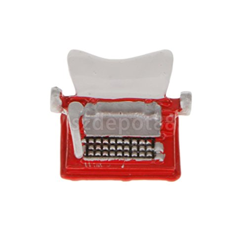 niature Accessory Red Metal Typewriter Non-working 12th ()