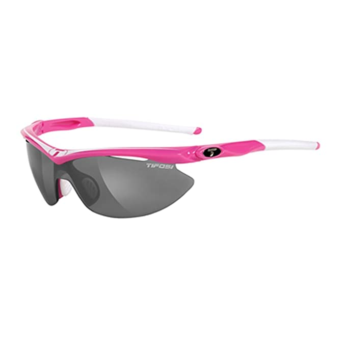 Tifosi Womens Slip T-I006 Shield Sunglasses,Neon Pink Frame,Smoke,Red and Clear Lens,One size
