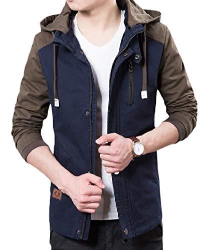 Cappotto uomo Tasca Con Moda Pattern1 Contrasto Colore Di Outwear Cappuccio Alla Cerniera Howme Splicing vwq4ndXX