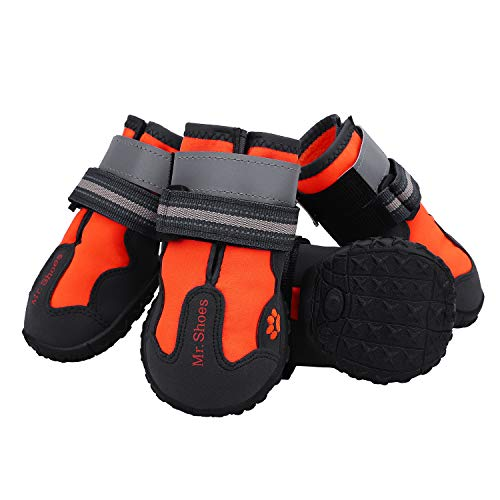 Petrunup Dog Hiking Boots,Dog Booties Non Slip Waterproof Pet Running Shoes for Hardwood Floors Traction Medium Dogs Orange 6#