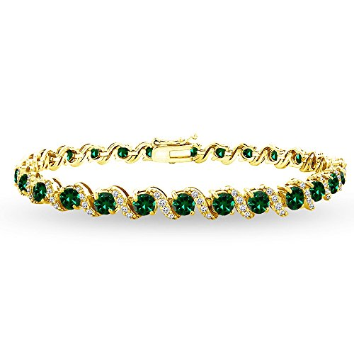 GemStar USA Yellow Gold Flashed Sterling Silver Simulated Emerald 4mm Round-Cut S Design Tennis Bracelet with White Topaz - Gold Emerald Yellow Bracelet