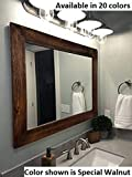 bathroom vanity mirrors Shiplap Large Wood Framed Mirror Available in 4 Sizes and 20 Colors: Shown in Special Walnut Stain - Large Wall Mirror - Rustic Barnwood Style - Bathroom Vanity Mirror - Rustic Bathroom Decor