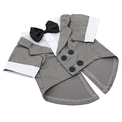 [IUNEED New Fashion Dapper Dog Apparel Tuxedo Pet Puppy Costume (M, Grey)] (Dapper Dog Tuxedo Pet Costumes)