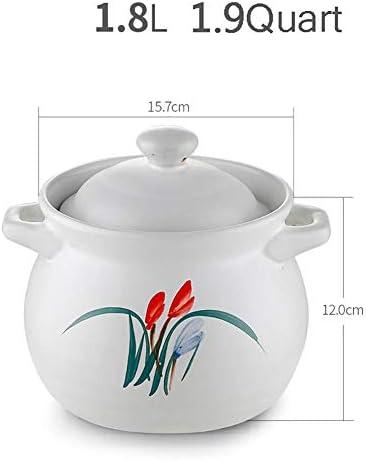 LEILEI Cocotte en céramique Chinoise avec Couvercle et poignée,marmite en Terre Profonde Faite à la Main ustensiles de Cuisine sains ustensiles de Cuisine sains Blanc 1.9Quart