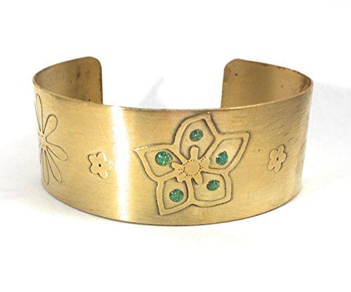 Adjustable Etched Flower Brass Cuff Bracelet