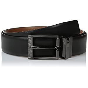 Perry Ellis Men's Portfolio Feather Edge Etched Buckle Soft Touch Belt, Black/Brown Reversible, 30