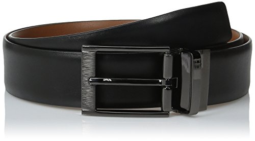 Perry Ellis Men's Portfolio Feather Edge Etched Buckle Soft Touch Belt, Black/Brown Reversible, 34 - Edge Portfolio