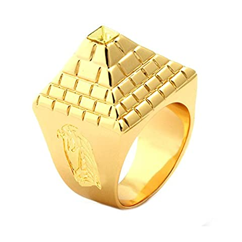 JAJAFOOK Men's Stainless Steel 14k Gold Plated Hip-Hop Egypt Pyramid Totem Rings,Size 08-11 (Man Ring Gold 14k)