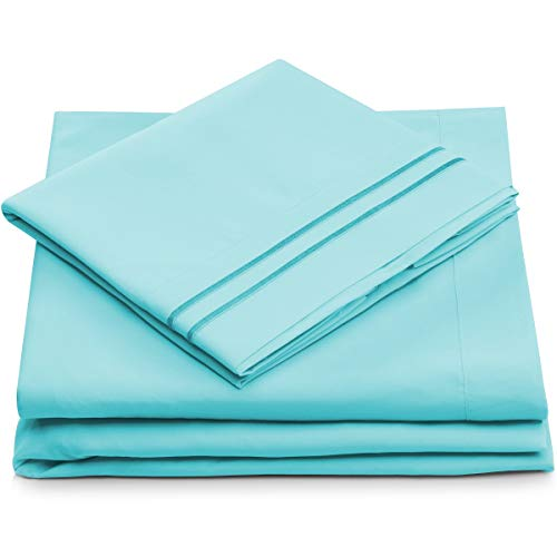 Queen Size Bed Sheets - Pastel Blue Luxury Sheet Set - Deep Pocket - Super Soft Hotel Bedding - Cool & Wrinkle Free - 1 Fitted, 1 Flat, 2 Pillow Cases - Aqua Queen Sheets - 4 Piece