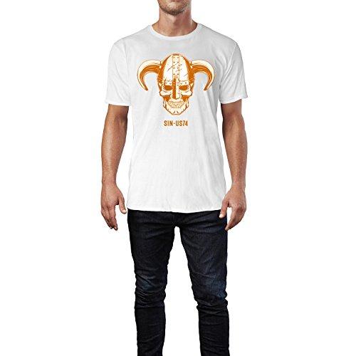 SINUS ART ® Totenkopf mit Wikingerhelm Herren T-Shirts in Weiss Fun Shirt mit tollen Aufdruck