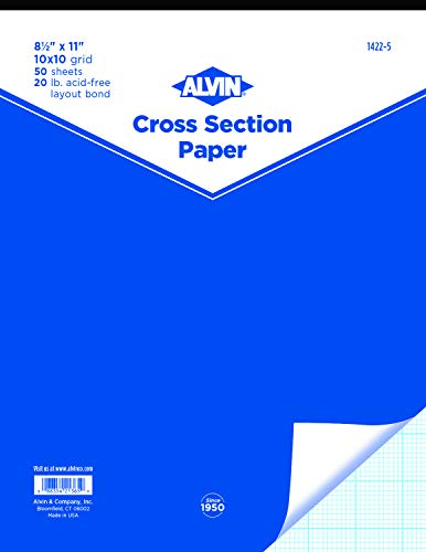 Alvin, 1422-5, Cross Section Paper Pad, Acid-Free, 10 x 10 Inches Grid - 50-Sheet, 8.5 x 11 Inches
