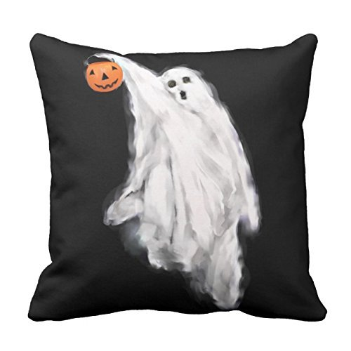 LACOP-Store Halloween Ghost Home Decorative Throw Pillow Cover Square 18 x 18 Inches Cotton Canvas Wedding Pillow Case Cushion Cover for Sofa Two Side Printed ()