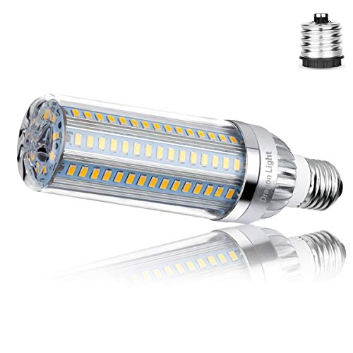 50W Super Bright Corn LED Light Bulb(500Watt Equivalent) - 3000K Warm White 5500Lumen - E26 with E39 Mogul Base Adapter for Large Area Commercial Ceiling Light - Garage Warehouse Factory High Bay Barn