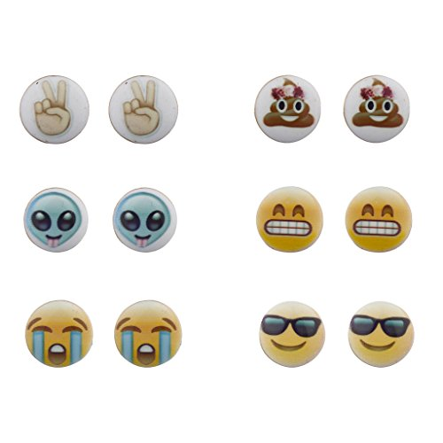 Lux-Accessories-Emoji-Smiley-Faces-Alien-Peace-Sign-Multi-Earring-Stud-Set-6PC