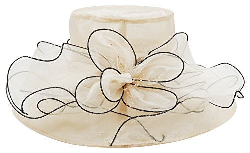 Bellady Women Floral Wide Brim Tea Party Wedding Hats Church Derby Kentucky Dress Cap,Beige