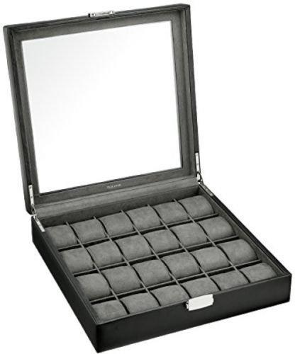 Felji 24 Watch Box XL Single Level Black Leather Large Compartments High Glass Window (Watch Xl Box)