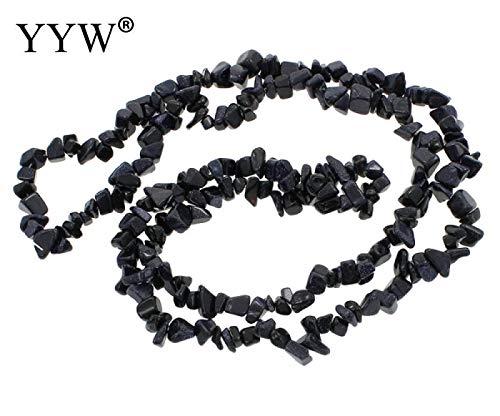 Calvas Natural Stone Beads Chips Beads 5-8mm Blue Goldstone Strand 34.6inch Lrregular Gravel Beads DIY Bracelet for Jewelry Making