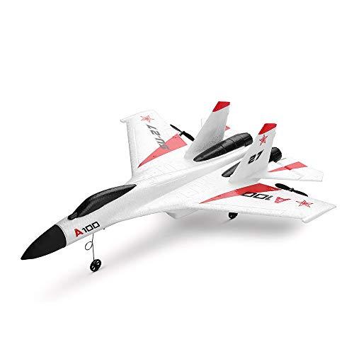 RC Glider Plane Remote Control Airplane WLtoys A100 SU-27 3CH 2.4G RC Airplane RTF Glider EPP Composite Material 14+ (White)