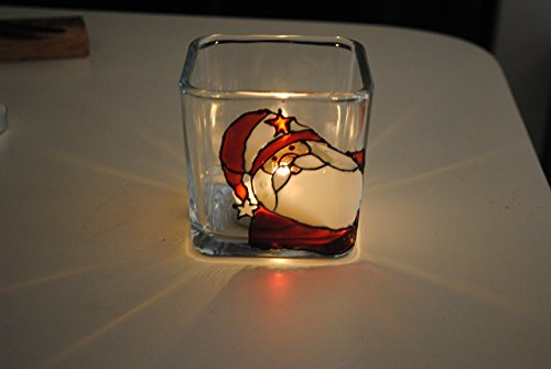 Santa Square Glasses (Santa Claus Holiday Hand Painted Stained Glass Square Candle Holder)