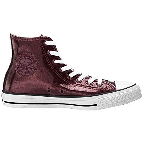 Converse Women's Chuck Taylor All Star Glitter Canvas High Top Sneaker, Dark Burgundy/White/Black, 9 M US