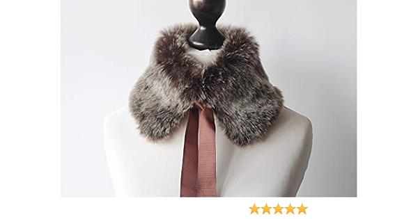 Faux fur collar in brown and beige Beige faux fur neck warmer Fake fur collar Faux fur collar with ribbon Fur neck warmer