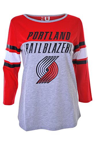 NBA Women's Portland Trail Blazers T-Shirt Ragan Baseball 3/4 Long Sleeve Tee Shirt, Small, Red