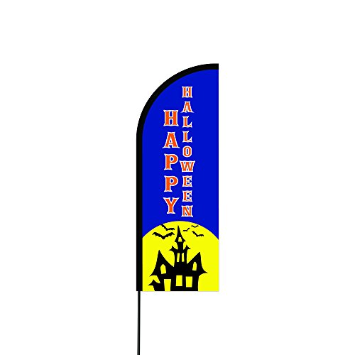 The Curbie Happy Halloween Feather Flag Flex Banner Carbon Composite Pole Kit, 11' (26-4EME-HUE0) -