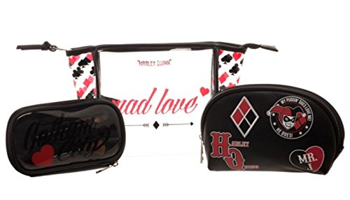 Harley Quinn Mad Love 3 Piece Cosmetic Toiletry, Make Up Bag