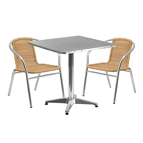 MFO 27.5'' Square Aluminum Indoor-Outdoor Table with 2 Beige Rattan Chairs