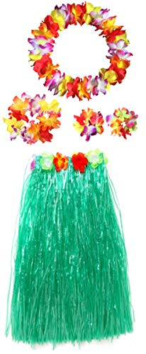 Women's Hawaiian Luau Grass Hula Skirt Wears Set (Green Full Lei, 5pcs/ Set)]()