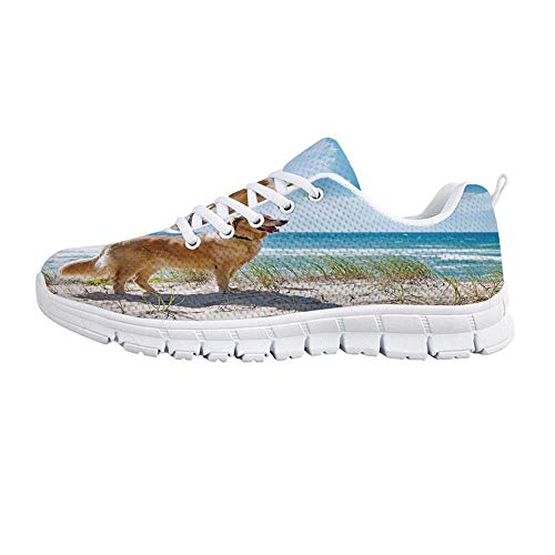 YOLIYANA Dog Lover Decor Sport Shoes,Golden Retriever on a Sandy Dune Overlooking Tropical Beach Ocean Outside Sky Decorative Sneakers for Girls Womens,US Size 7