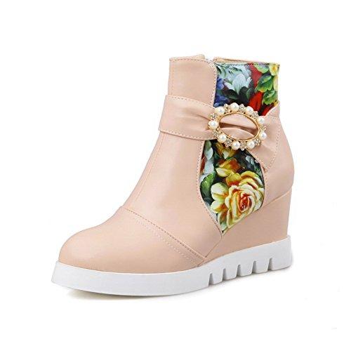 - AdeeSu Ladies Color Matching Thick Bottom Heel Round Toe Pink Short Plush Boots - 7 B(M) US