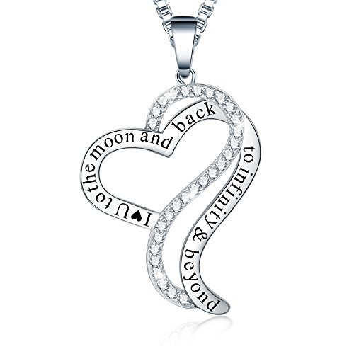 Ado Glo Christmas Day Gifts I Love You to The Moon and Back Infinity Beyond Heart Pendant Necklace, Fashion Jewelry for Women Girls, Birthday Thanksgiving Xmas Present for Girlfriend Wife ()