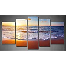 First Wall Art - 5 Panel Wall Art Sunset And Beach With Sea Wave Painting The Picture Print On Canvas Seascape Pictures For Home Decor Decoration Gift piece (Stretched By Wooden Frame,Ready To Hang)